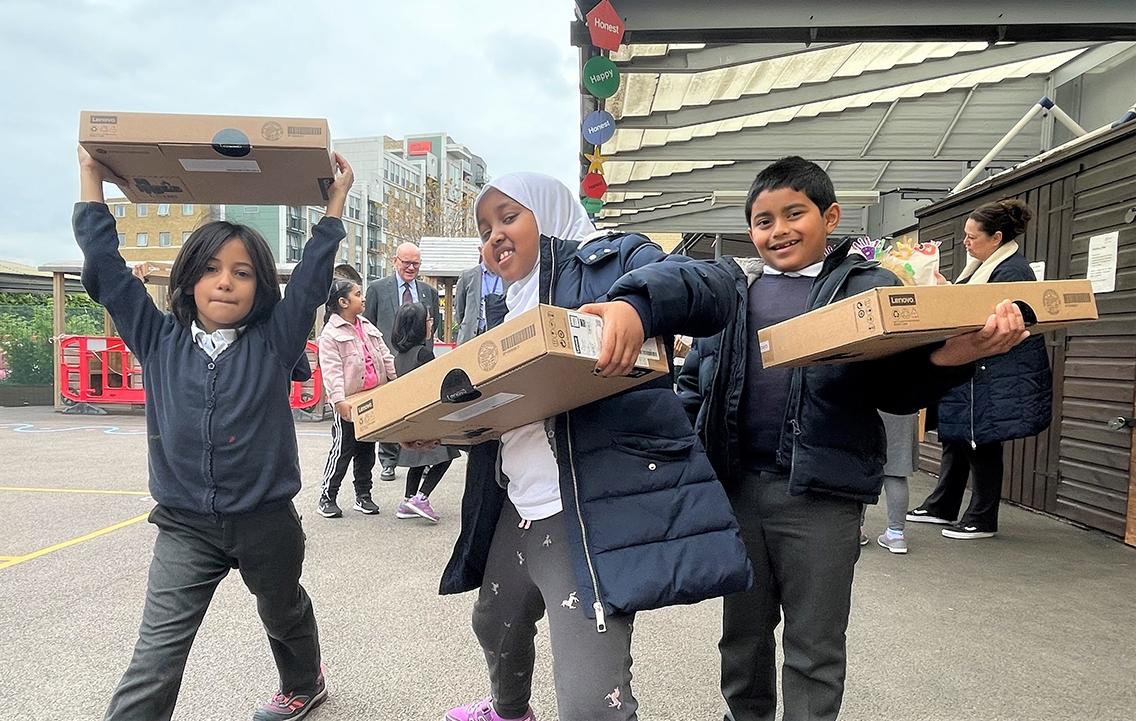 Delivery of laptops in Tower Hamlets marks an online learning milestone